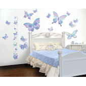 Blue Fluttering Butterfly Accents Growth Chart