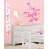 Pink Fluttering Butterfly Accents Growth Chart