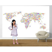 Peace and Love World Map Bright  Pre Pasted Mural