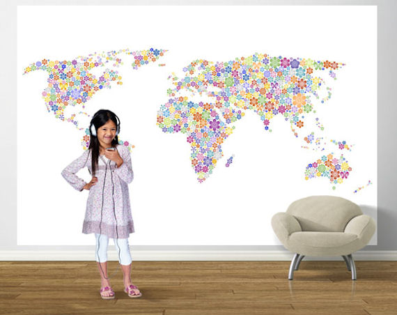 Peace and Love World Map Bright  Pre Pasted Mural - Wall Sticker Outlet