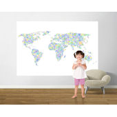 Peace and Love World Map Teal Pre Pasted Mural