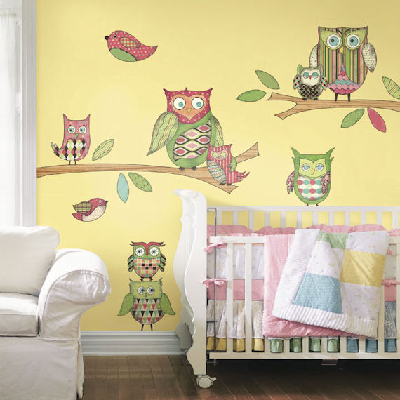 Pink Owl  Peel and Stick Mural - Wall Sticker Outlet
