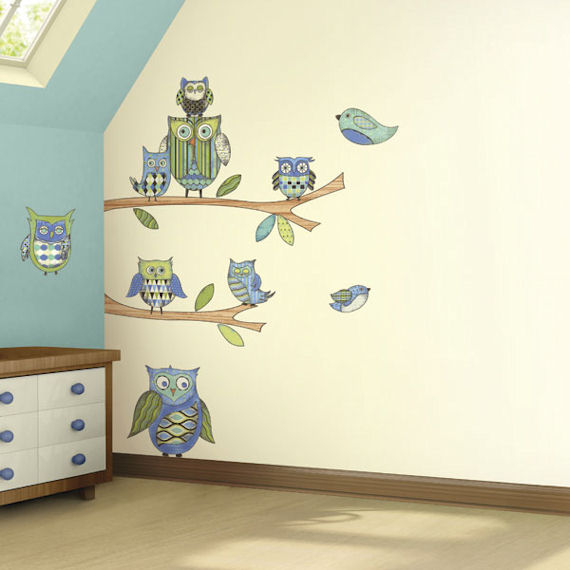 Blue Owl  Peel and Stick Mural - Wall Sticker Outlet