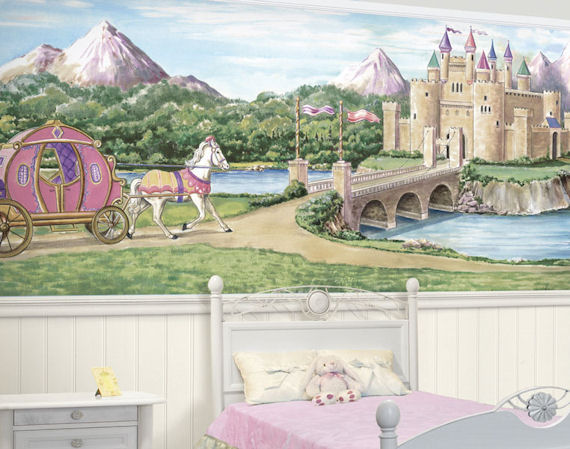 Princess castle bliss mural for Castle mural wallpaper