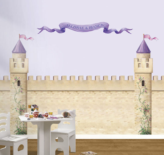 Princess castle tower pre pasted accent mural for Castle mural kids room