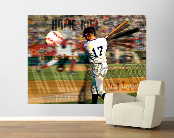 Baseball fans pre pasted mural for Baseball mural wallpaper