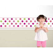Candy Dots Pink on White  Border