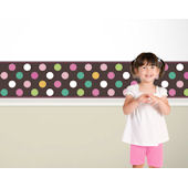 Candy Dots Teal and Pink on Brown  Border