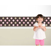 Candy Dots  Pink on Brown  Border