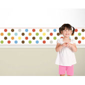 Candy Dots  Multicolor on White  Border