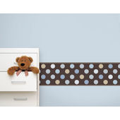 Candy Dots Blue on Brown  Border