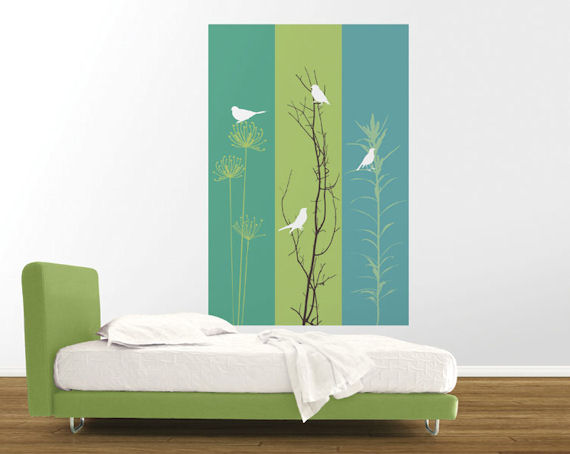 Birdsong teal green right peel and stick panel for Teal peel and stick wallpaper
