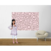 Pink and Brown  Alphabetical Pre Pasted Mural
