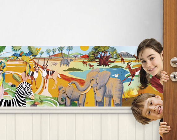 animals wallpaper african safari tigers. Colurful 3D Safari Mini Mural