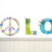 Peace and Love Bright on White Mini Mural