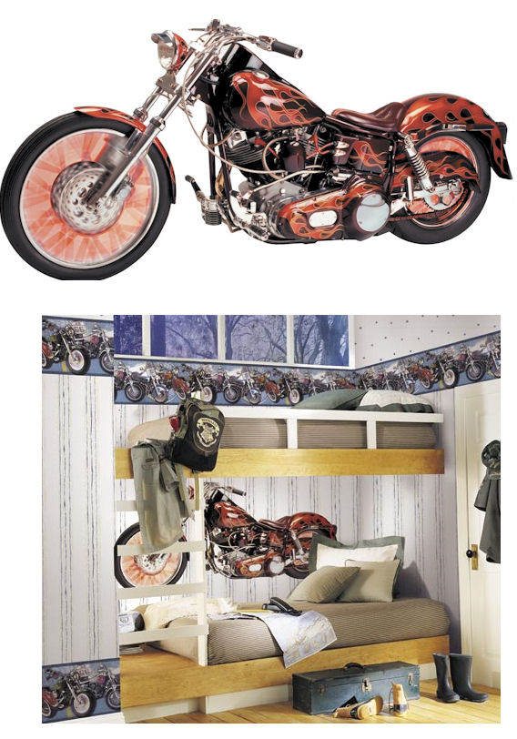 motorcycle peel and stick wall mural