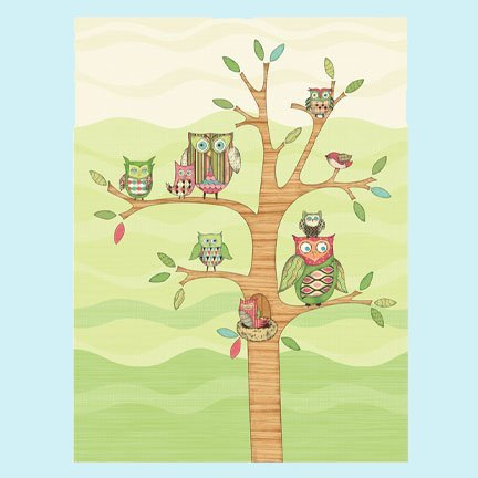 Pink Owl Wall Mural - Kids Wall Decor Store