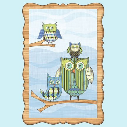 Blue Owl  Window Prepasted Wall Mural - Wall Sticker Outlet