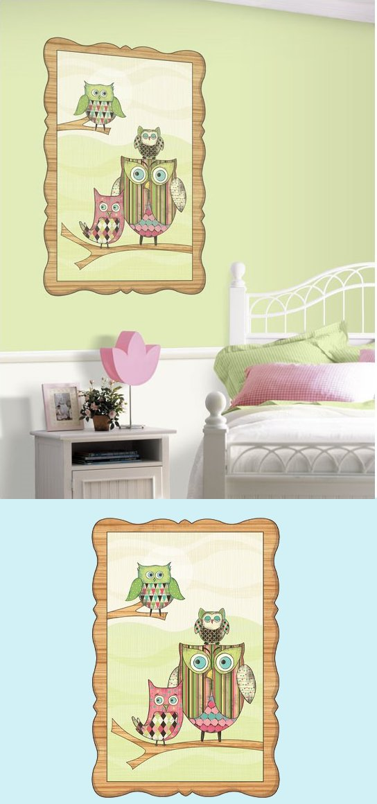 Pink Owl Window Prepasted Wall Mural - Wall Sticker Outlet