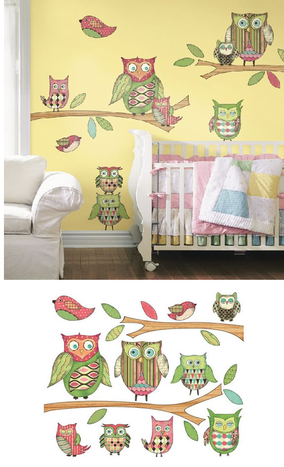 Pink Owl Prepasted Accent Wall Mural - Wall Sticker Outlet