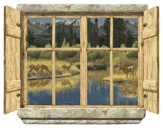 Double Rustic Windows : Rustic window double deer peel stick wall mural