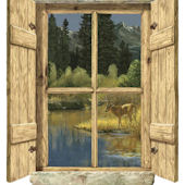 Rustic Window Single Deer Peel Stick Wall Mural