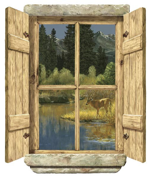 Rustic Window Single Deer Peel Stick Wall Mural - Kids Wall Decor Store