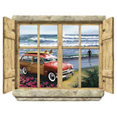 Rustic Window Surf City Peel Stick Wall Mural