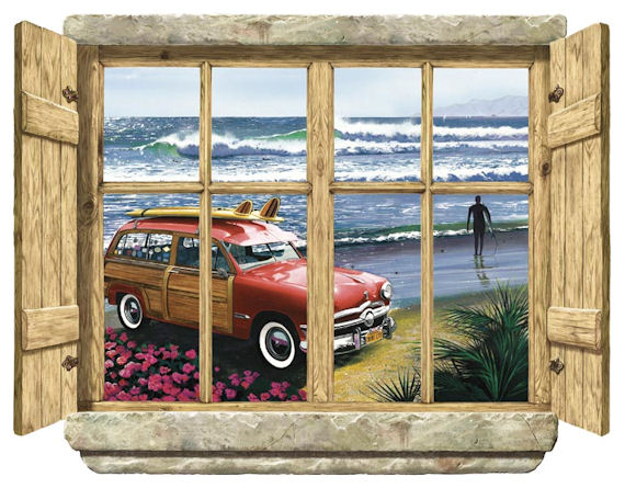Rustic Window Surf City Peel Stick Wall Mural - Kids Wall Decor Store