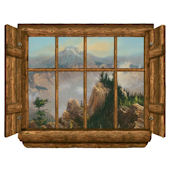 Rustic Window Sawtooth Point Peel Stick Wall Mural