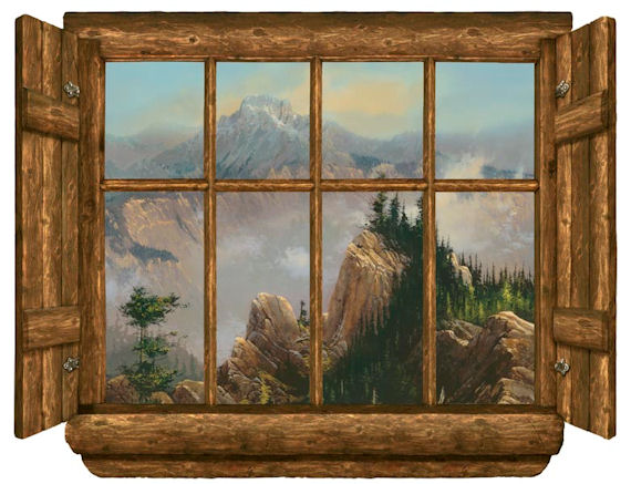 Rustic Window Sawtooth Point Peel Stick Wall Mural - Kids Wall Decor Store