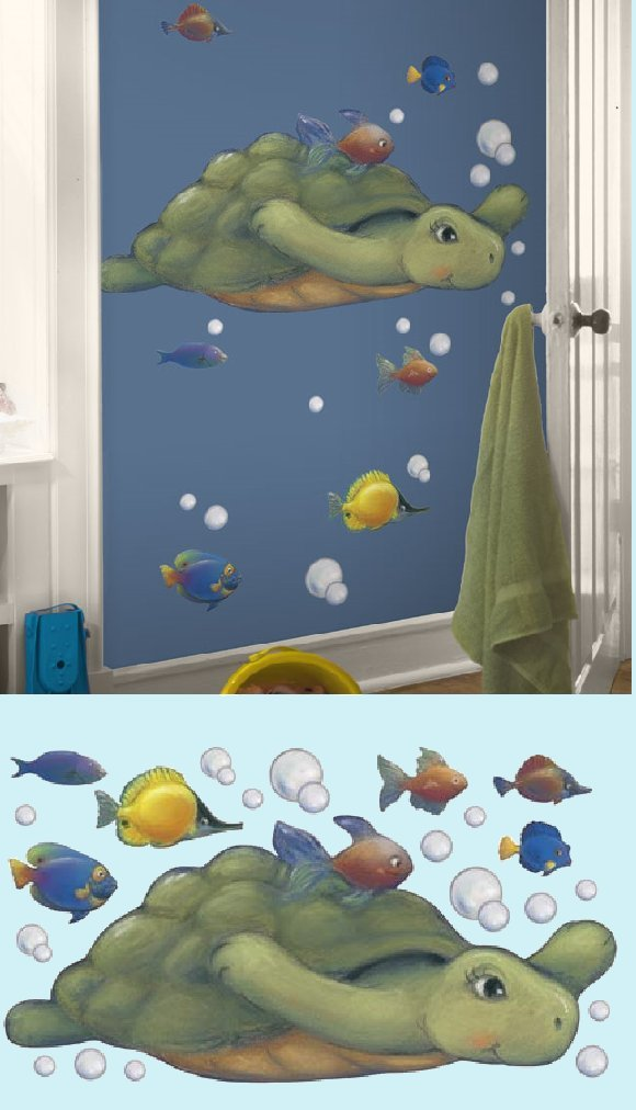 Sea Turtle Peel and Stick Wall Mural - Kids Wall Decor Store