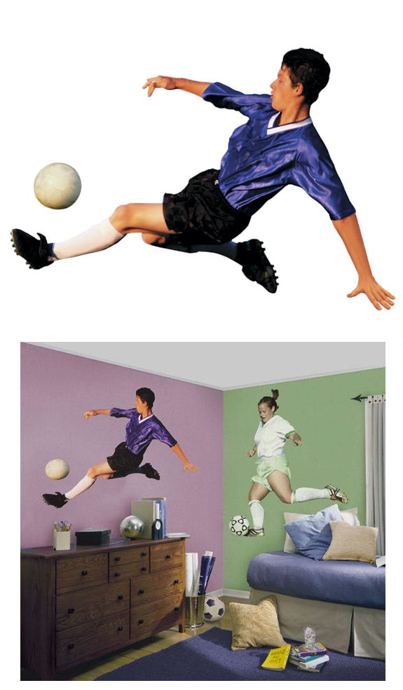 Soccer Player Boy Peel Stick Wall Mural Kids Wall Decor