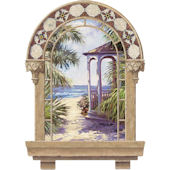 Spanish Window Beach Gazebo Peel Stick Wall Mural