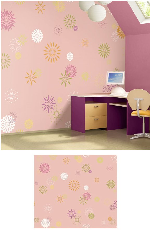 Starburst Pinky Pre Pasted Wall Mural - Wall Sticker Outlet