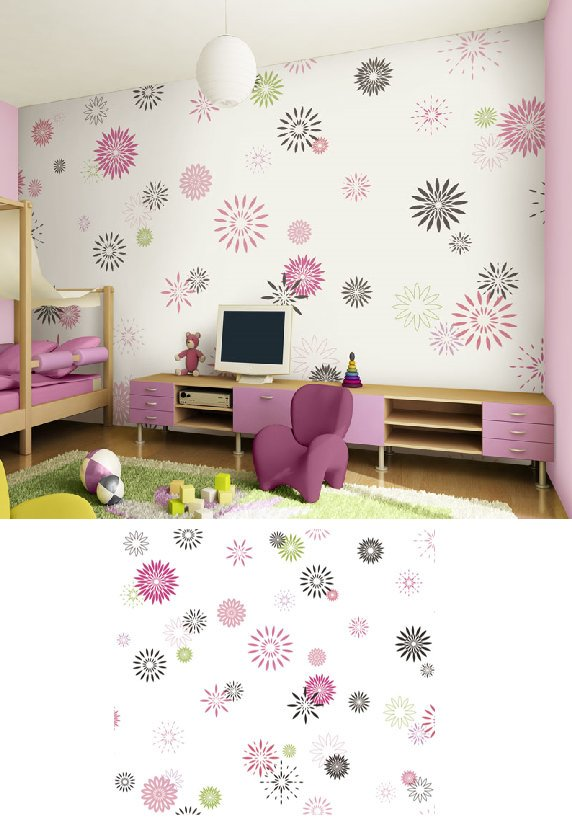 Starburst White Pre Pasted Wall Mural - Wall Sticker Outlet