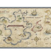 Treasure Map Antique Panoramic Wall Border