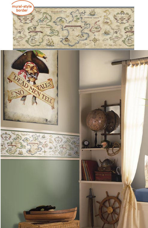 Treasure Map Antique Panoramic Wall Border - Kids Wall Decor Store