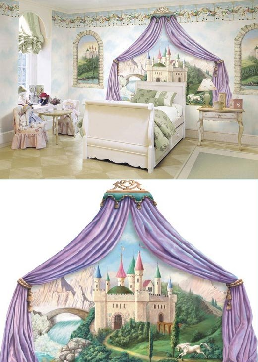Castle Canopy Princess Mural - Wall Sticker Outlet
