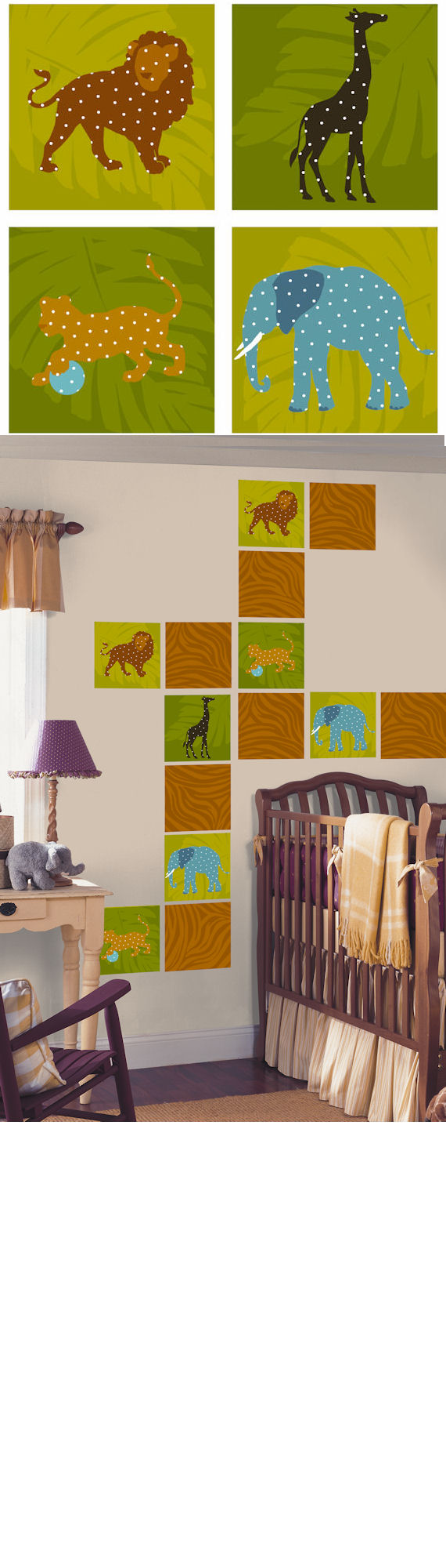 Zoo Animals Kidifexs Peel and Stick Wall Stickers - Wall Sticker Outlet