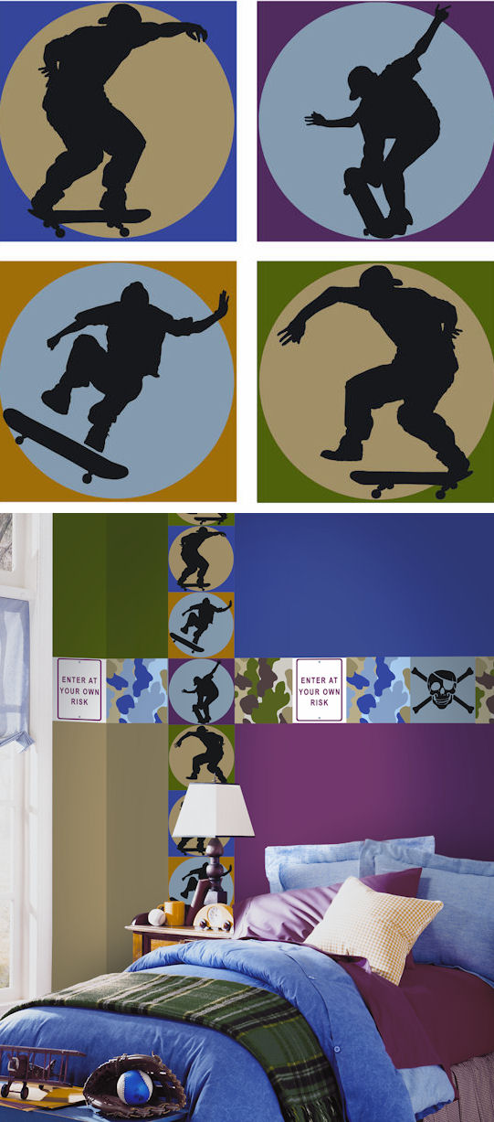 Skateboard Shadow Kidifexs Wall Stickers - Kids Wall Decor Store