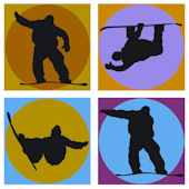 Snowboard Shadow Kidifexs Wall Stickers