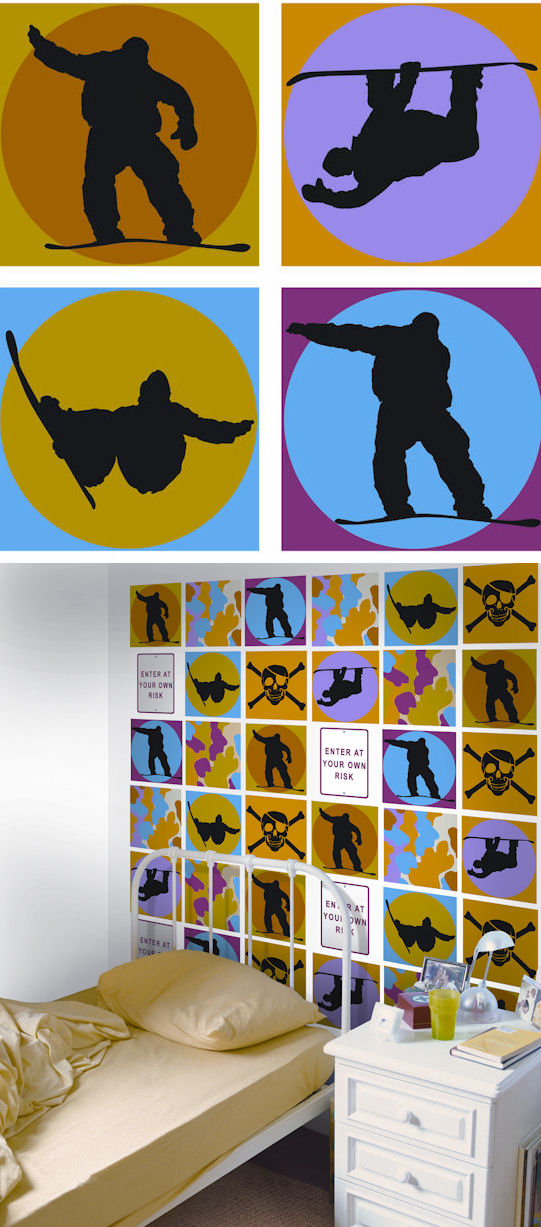 Snowboard Shadow Kidifexs Wall Stickers - Kids Wall Decor Store