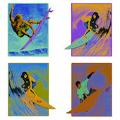 Fluorescent Surfers Kidifexs Wall Stickers