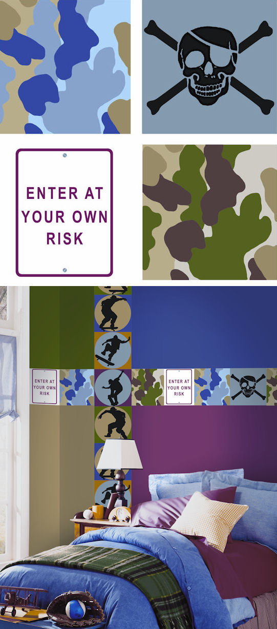 Neutral Risk Camo Kidifexs Wall Stickers - Kids Wall Decor Store