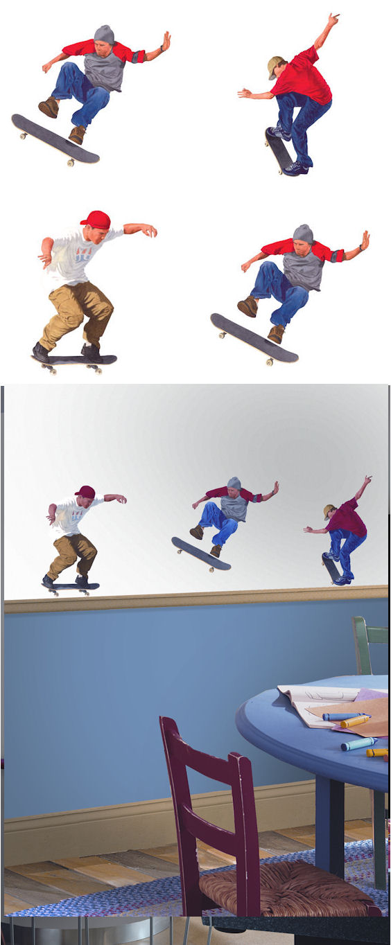 Skateboarding Kidifexs Wall Stickers - Wall Sticker Outlet