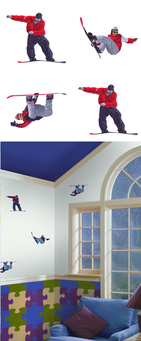 Snowboarding Kidifexs Wall Stickers - Wall Sticker Outlet