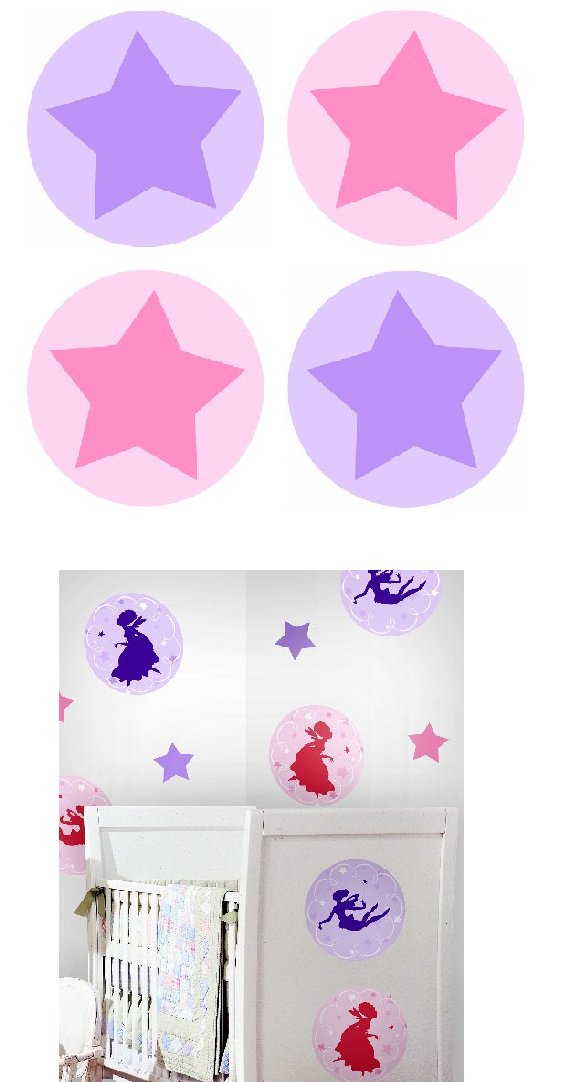 Star Circles Kidifexs Peel and Stick Wall Sticker - Kids Wall Decor Store