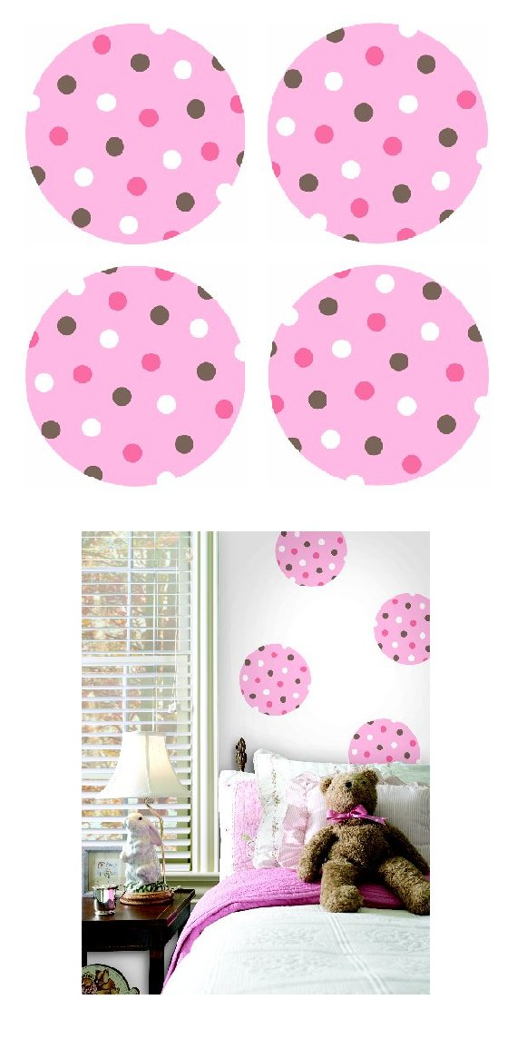 Pink Polka Dots Kidifexs Peel and Stick Stickers - Kids Wall Decor Store