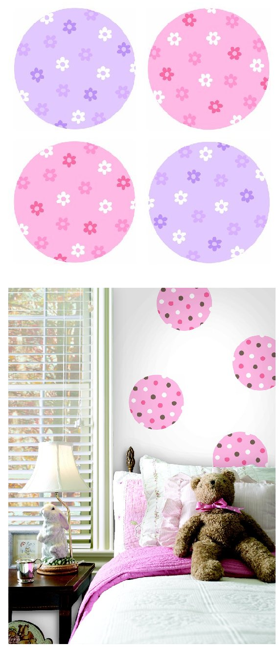Flower Polka Dot  Kidifexs Peel and Stick Stickers - Wall Sticker Outlet